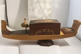 Vintage Reuge Dancing Ballerina Gondola Wooden Cigarette Case Music Box Rare - $290.24