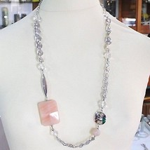 SILVER 925 NECKLACE, GIADA BROWN, LENGTH 80 CM, CHAIN WORKED WITH FLOWERS image 2
