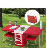Multi Function Table + 2 Chairs Rolling Cooler Box Furniture Set Picnic ... - $85.79