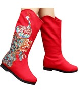 Peacock Vintage Beijing Cloth Shoes Embroidered Boots red 35 - $49.99