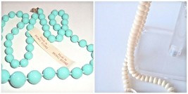 Vintage 80s 2 plastic strand Necklaces Mod made in Hong Kong blue cream - $6.90