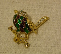 Lovely Gold-tone Cloisonné Bird Brooch / Pin Fashion Emerald Eye Rhinestones  - $10.98
