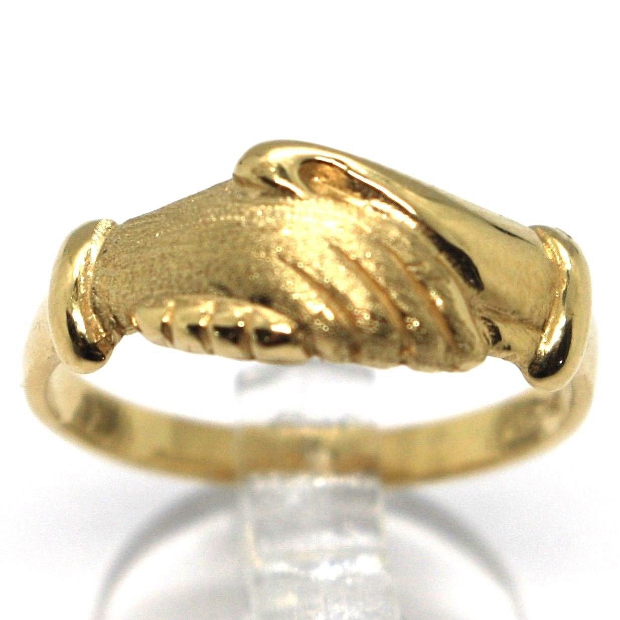 Yellow Gold Ring 750 18k, Santa Rita, Hands, Polished and Satin, Italy Made