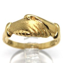 Yellow Gold Ring 750 18k, Santa Rita, Hands, Polished and Satin, Italy Made image 1