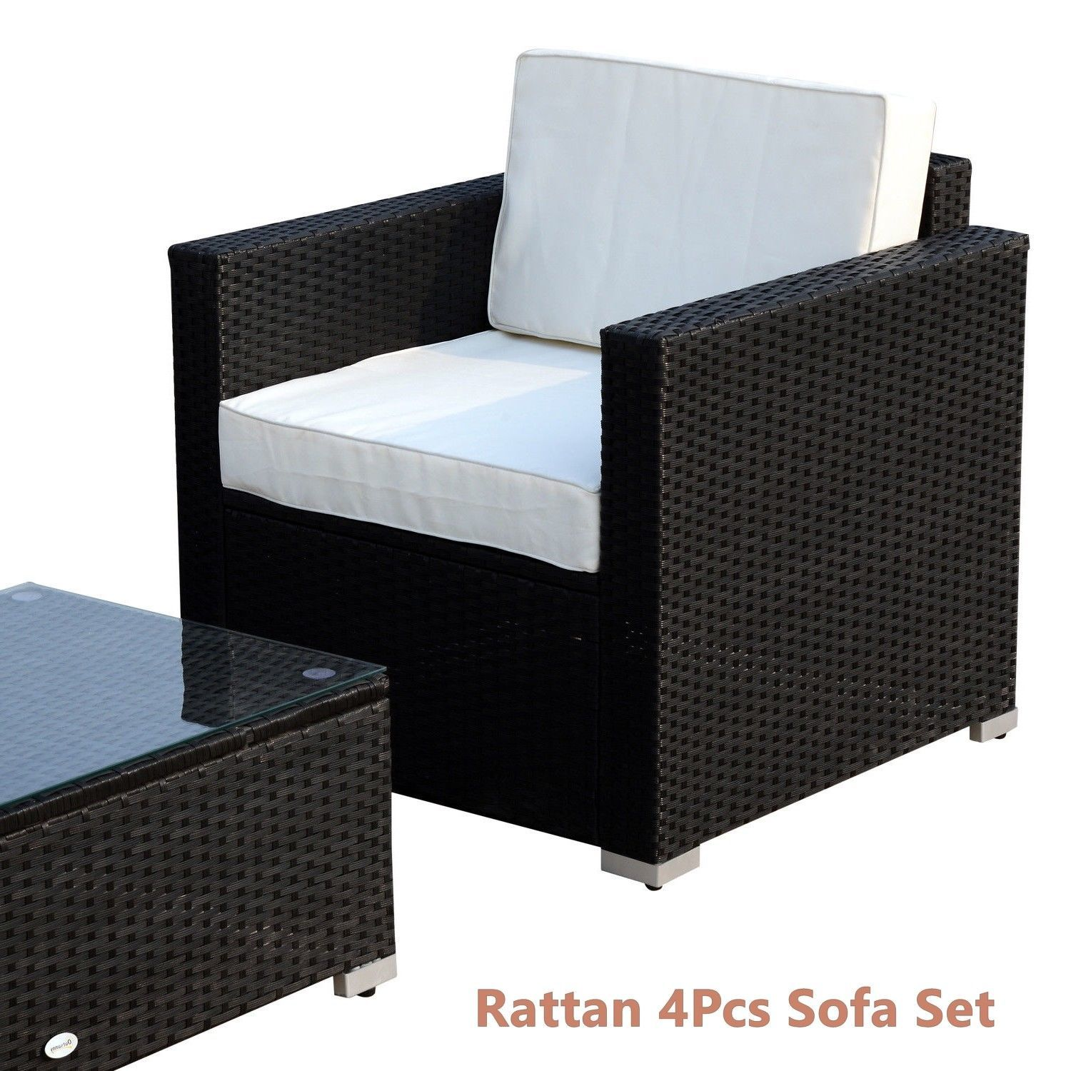 Rattan Sofa Cushioned Set Garden Wicker Glass Top Table Armchairs 4Pcs Black New image 5