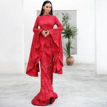New Arrival Top Quality ONeck Flare Long Sleeve Celebrity Red Party Dress image 2
