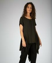 Asymmetrical Bohemian Style Deep Green Silk Top - $83.54