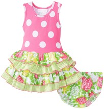 Bonnie Baby Baby Girl 3M-24M Racerback Dotted Knit To Mix Print Tier Dress