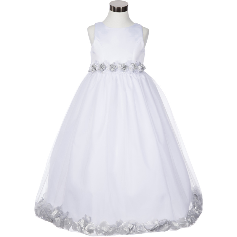 White Satin Bodice Floating Pink Flower Petals Layers Tulle Skirt Girl Dress