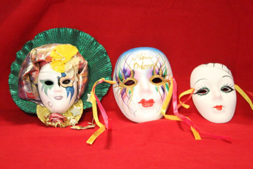 Lot of 3 hand painted New Orleans Art DeCo Face Ceramic Wall Hanging Masks C-8
