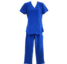 DSF Women's Four Stretch Scrub Set V-Neck Top Cargo Pants - $21.49+