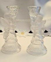 CLEAR GLASS FROSTED CHERUB ANGEL CANDLE STICK HOLDERS PAIR OF TWO