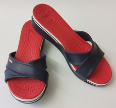 Crocs Shoes Sandals Red White Blue Slides Womens Size 9 - $44.51