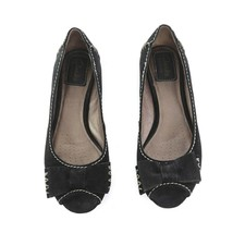 Clarks Artisan Black Suede Stitched Peep Toe Flats Shoes Bow Accent Wome... - $34.47