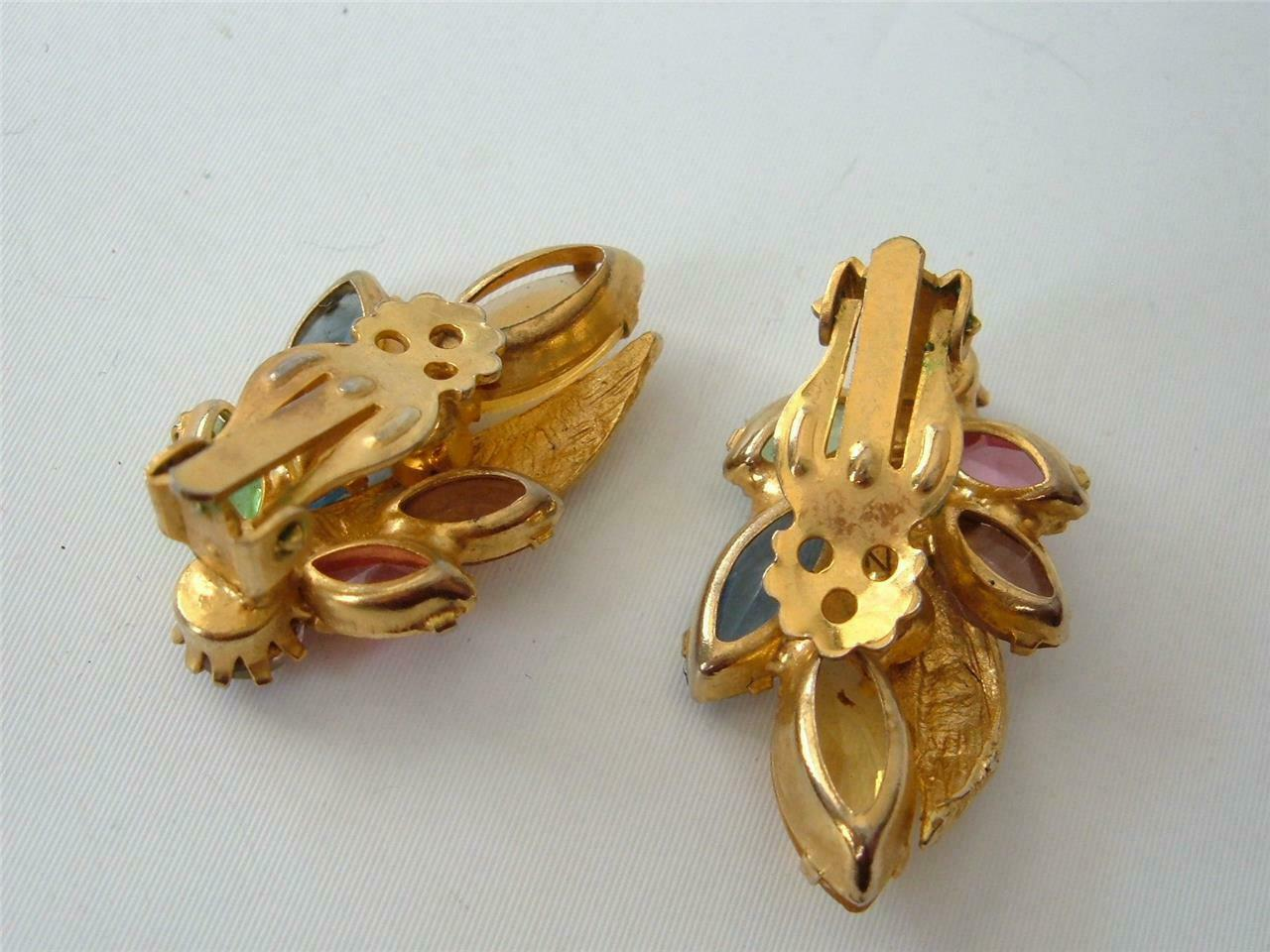 Juliana Delizza & Elster Multicolor Earrings Gold Tone Open Back Pastels Clips