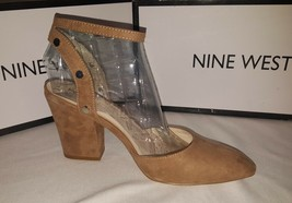 New in BOx Nine West women's suede brown strappy closed toe thick heel s... - $34.42