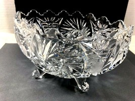 "VTG Footed Clear Crystal Glass bowl pinwheel pattern oval 7.25"" x 5"" x 4"" - $41.58"