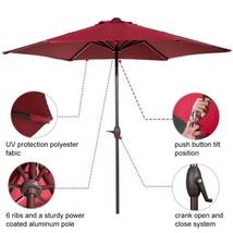 9' Market Fabric Aluminum Patio Table Umbrella Auto Tilt And Crank 8 Rib... - $88.39 CAD