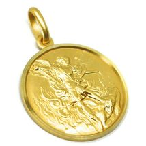 SOLID 18K YELLOW GOLD SAINT MICHAEL ARCHANGEL 21 MM MEDAL, PENDANT MADE IN ITALY image 3