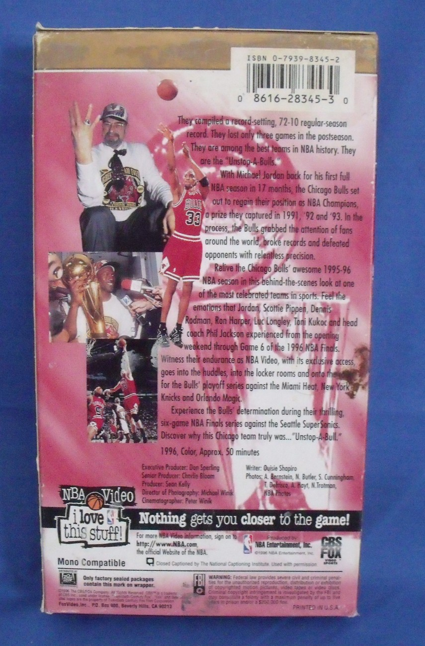 VHS Tape Unstop A Bulls Chicago Bulls 1995 96 Championship Season