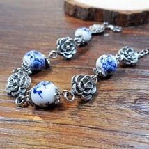 Blue Ceramic Ethnic Beads Charm Bracelets Flower Carve Handmade Silver C... - $10.00
