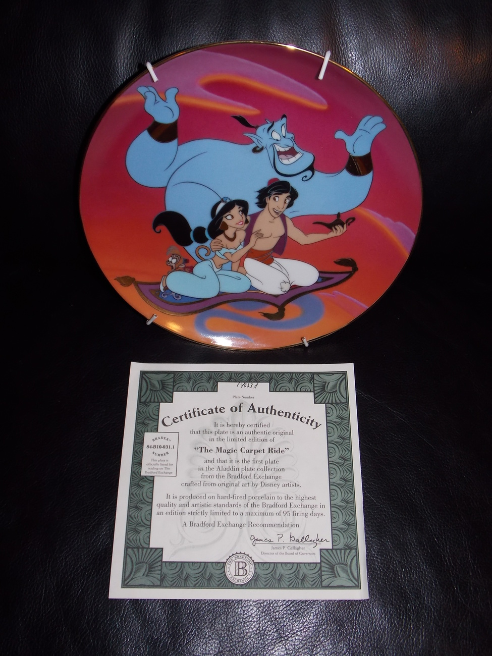 "1993 Disney Aladdin ""A Magic Carpet Ride"" Collector Plate With Certificate"