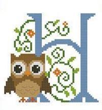 Hooties Alphabet H cross stitch chart Pinoy Stitch