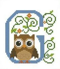 Hooties Alphabet G cross stitch chart Pinoy Stitch