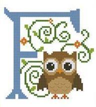 Hooties Alphabet F cross stitch chart Pinoy Stitch