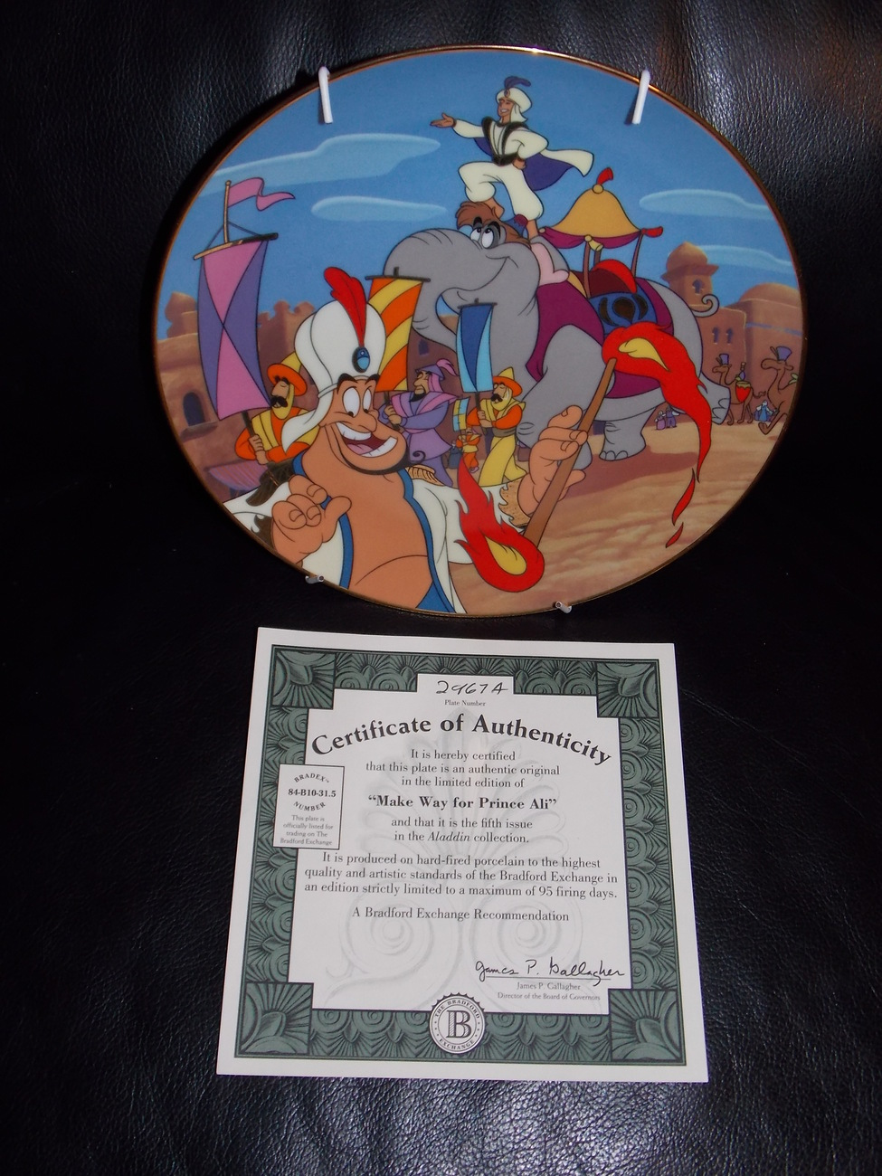 "Primary image for 1994 Disney Aladdin ""Make Way For Prince Ali"" Collector Plate With Certificate"