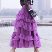 Fuchsia Tiered Skirt Outfit Full Long Tiered Tulle Skirt Princess Outfit Custom  image 1