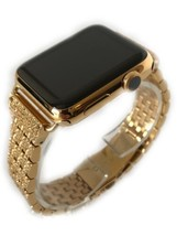 24K Gold Plated 42MM Apple Watch SERIES 3 Gold Links Band Diamond Rhinestone - $854.05