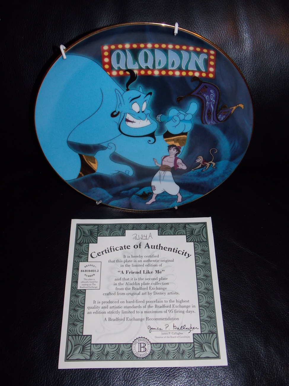 "1993 Disney Aladdin ""A Friend Like Me"" Collector Plate With Certificate"