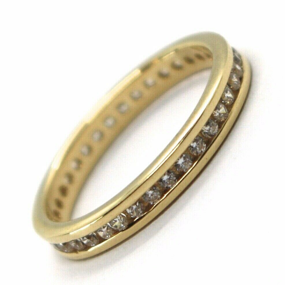 18K YELLOW GOLD ETERNITY BAND BINARY RING, WHITE CUBIC ZIRCONIA, THICKNESS 3 MM