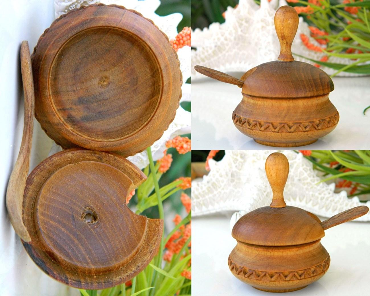 Vintage Carved Lidded Wood Salt Cellar Bowl Spoon Treenware