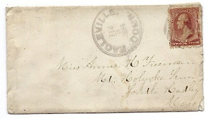 Primary image for 1886 Eagleville CT Discontinued/Defunct (DPO) Post Office Postal Cover