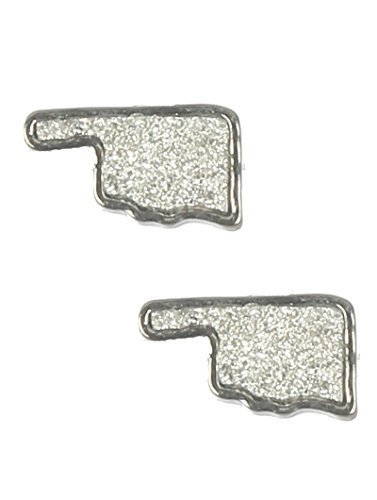 Glitter Bling Oklahoma Pride State Post Earrings (Silvertone)