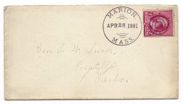 1891 Marion MA Vintage Post Office Postal Cover - $9.95