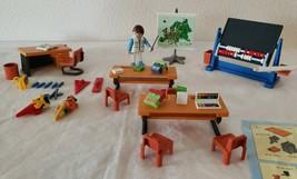 Playmobil City School Classroom Add On 7486 Teacher Chalkboard Desk Chair Extras - $40.57