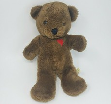 VINTAGE 1983 DAKIN BABY THINGS BROWN TEDDY BEAR RED HEART STUFFED ANIMAL... - $64.52