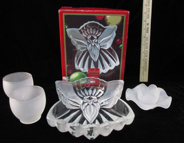 Gorham Crystal Angel of Peace Candy Dish Bowl w/ 3 Frosted Glass Candle ... - $17.81