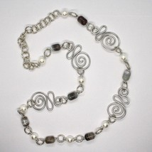 NECKLACE THE ALUMINIUM LONG 80 CM WITH CHALCEDONY AND PEARLS WHITE image 2