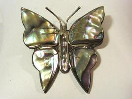 Vintage Mexico sterling silver Abalone Butterfly brooch - $24.00