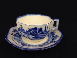 Vintage Royal Doulton Norfolk Blue And White Transferware Cup Saucer Art... - $21.00