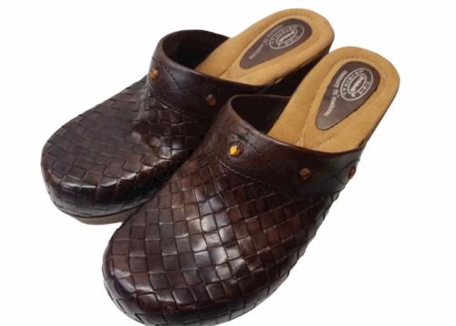 Brown Leather Dr Scholls Women Mule Clog Shoes Size 8