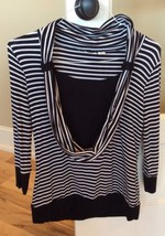 Womens Black White Striped Top Drape Neck Size M Cato - $12.99