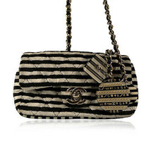 Authentic Chanel Striped Black and White Velvet Mini Crossbody Bag with ... - $3,613.50