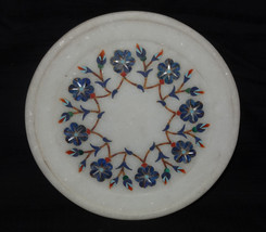 """6"""" Marble Plate Lapis Lazuli Floral Design Turquoise Marquetry Home Decor Gifts - $36.14"""