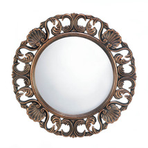 Gold Wall Mirror, Ornate Living Room Wall Mirror, Heirloom Round Wall Mirror - $48.14