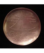 Antique English Arts & Crafts Hammered Copper Sailboat Dish  - $22.50